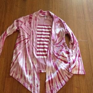 Sweaters - Pink and white flare open Cardigan. Sold!