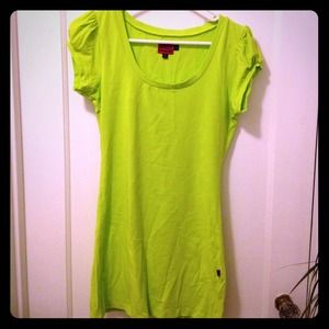 Dresses & Skirts - Bright lime green tunic dress scoop neck