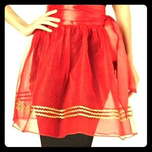 Accessories - Red sheer apron with gold ric rac