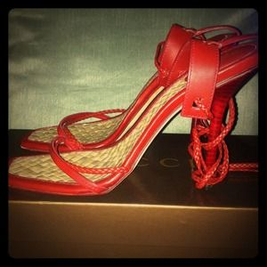 Gucci Red leather lace up sandals