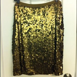 New York & Co. olive green/gold sequin skirt