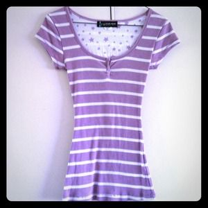 Purple and white striped short sleeve shirt