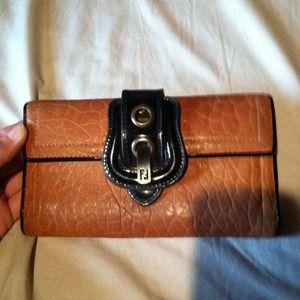Fendi B wallet camel color leather