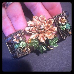 Jewelry - Jeweled pave Yellow flower stretch pastel bracelet