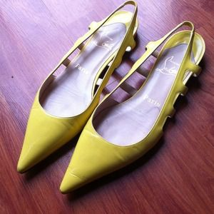 Christian Louboutin Shoes - Christian Louboutin yellow cut-out flats