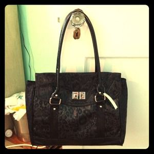 boutique Handbags - NWT Black leopard print tote!