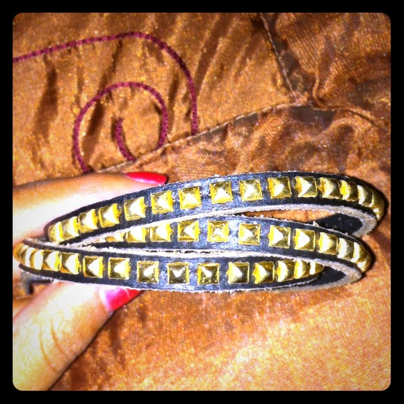Black wrap bracelet with gold studs. 🌟 reduced.