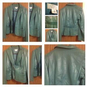 Ann Taylor Loft leather blazer. Bluish green