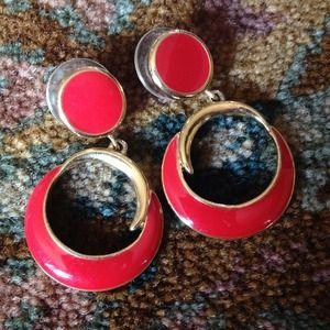 Trifari Jewelry - Trifari red pierced earrings