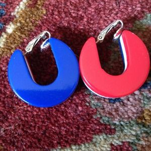 Jewelry - Red white blue clip on hoop earrings