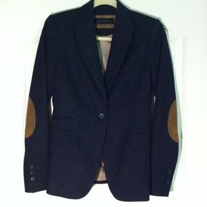 Navy Zara blazer with elbow patches