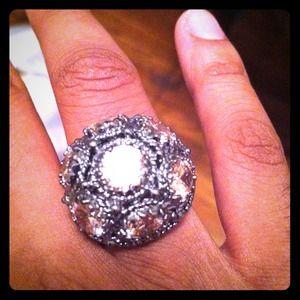 dark metallic and rosy stoned BCBG ring