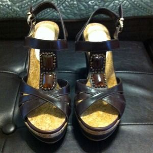 Shoes - Brown leather wedge sandals.