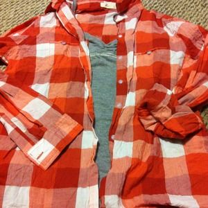 Forever 21 Tops - Forever 21 Orange Checkered Button-Down
