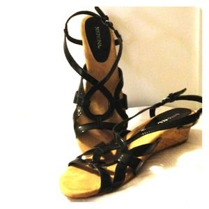 Strappy Black Merona wedge sandals