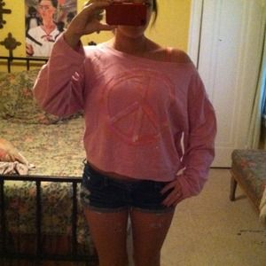 Victoria's Secret Outerwear - Pink peace sign slouchy sweatshirt