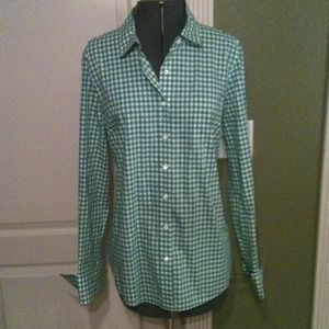 J. Crew Tops - JCrew Green Gingham Button-up