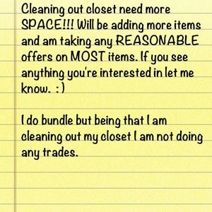 Closet cleaning sale!!!!
