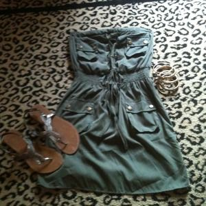 Dresses & Skirts - Strapless khaki green dress