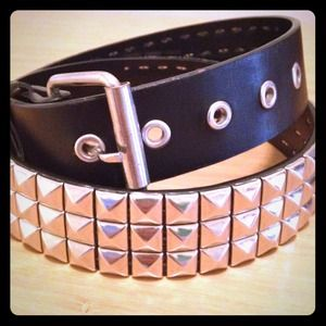Triple row studded leather belt