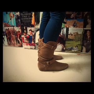 BP Light Brown Real Suede Mid-Calf Slouchy Boots