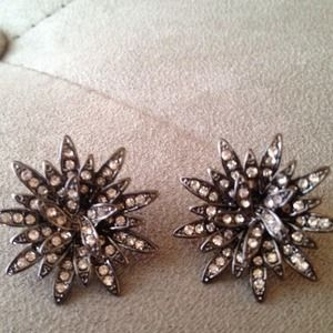 J. Crew Jewelry - New huge j.crew dark silver&crystal flowerearrings