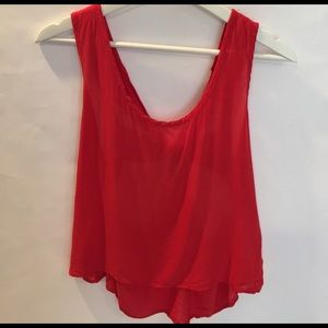 Tops - Red top with back cut outs B8
