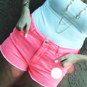 Pants - Neon High Waisted Shorts