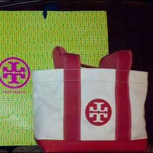 Tory Burch Handbags - MINI BEACH TOTE NATURAL/WATERMELON