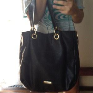 Steve Madden Handbags - Steve Madden black leopard trim tote bag