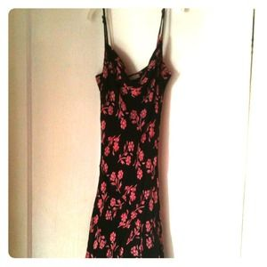 Charlotte Russe Dresses & Skirts - GONE--Charlotte Russe black/pink floral maxi dress