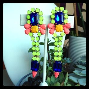 Vintage Hand-Painted Rhinestone Earrings