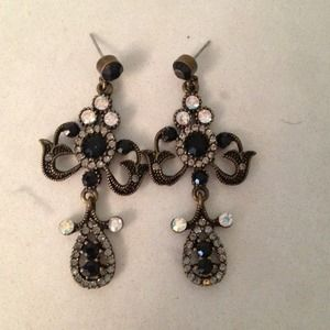 Black Jeweled Earrings
