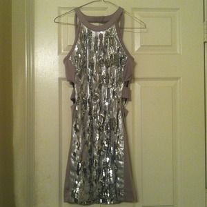 BEBE Sparkly Cut-out back Dress