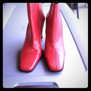 """Red Leather Booties""""Brand New"""""""