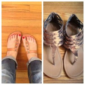 BUNDLE: Bronze gladiator sandals & AE stud sandals