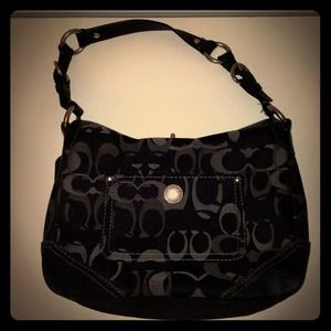 *Reduced* Coach Signature Black & Silver Purse