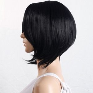 New Black side bangs part short hair wig extension