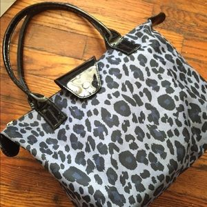 Handbags - blue and black cheetah print bag
