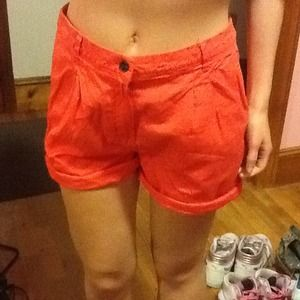 H&M Denim - Dark orange High waisted shorts.