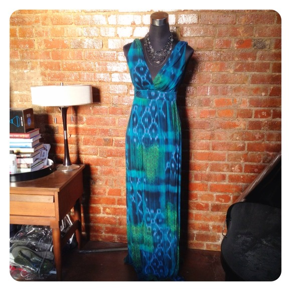 Dresses - HALF OFF SALE | Teal Ikat Print Maxi Dress