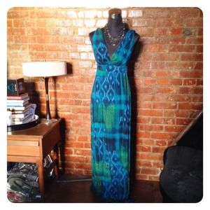 HALF OFF SALE | Teal Ikat Print Maxi Dress