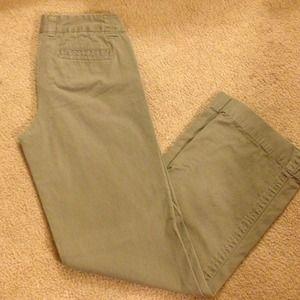 J. Crew Pants - J. Crew wide leg olive chinos