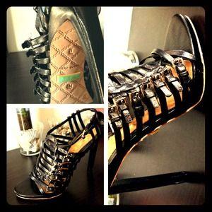 "L.A.M.B leather 5-6"" heels"