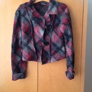Wool plaid short jacket