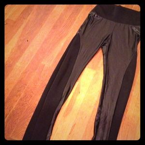 High-waisted Leather and Cloth Leggings