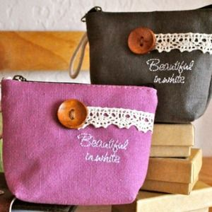 Clutches & Wallets - Beautiful in Color Button Coin Purses (Grey)