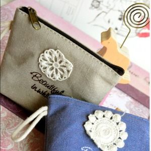 Clutches & Wallets - Beautiful in Crochet Flower Coin Purses (Tan)