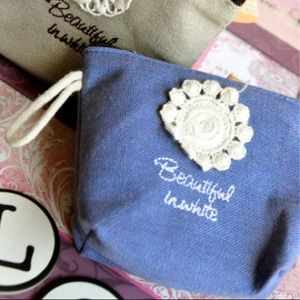 Clutches & Wallets - Beautiful in Crochet Flower Coin Purse (Blue)