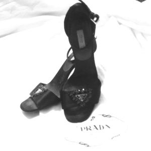 Prada Shoes - Authentic Prada Satin Heels w/ Crystal Studs